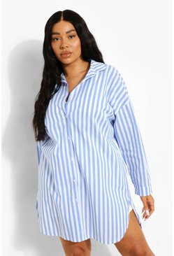 Plus Stripe Shirt Dress, Blue Синий