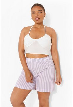 Lilac Plus Linen Pastel Stripe Relaxed Short