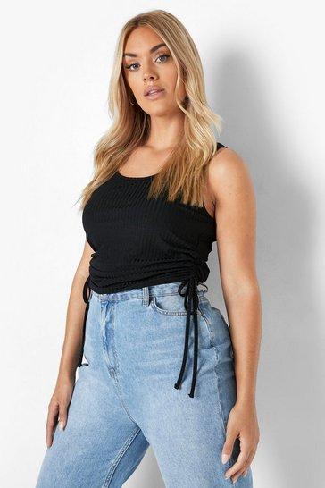 Black Plus Recycled Rib Ruche Side Vest