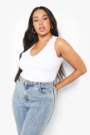 White Plus Recycled Plunge Bodysuit
