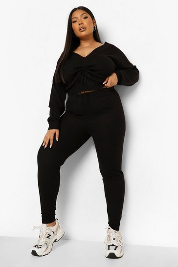 Black Plus Knitted Ruched Top and Trouser Set