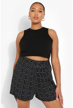 Black svart Plus Star Print Jersey Flippy Short