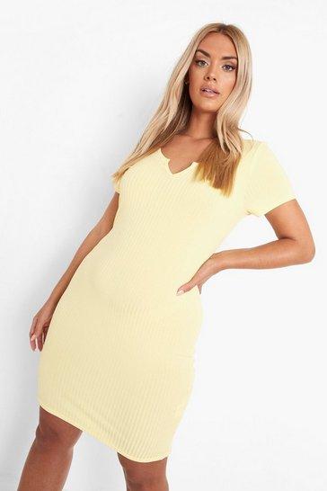 Lemon yellow Plus Recycled Rib Notch Front Mini Dress
