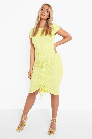 Lime green Plus Recycled Rib Ruched Midi Dress
