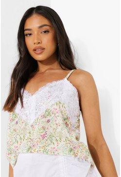 White Petite Ditsy Lace Trim Cami Top