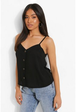 Black Petite Button Front Woven Cami Top