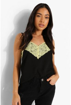 Black Petite Lace Trim Cami Top
