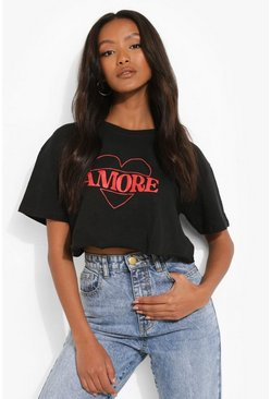 Black Petite Amore Printed Crop T-shirt