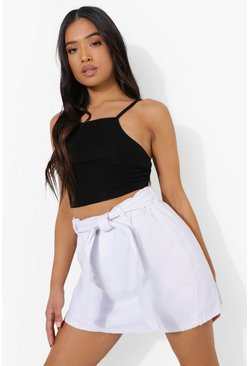 White Petite Denim Paperbag Belted Denim Skirt
