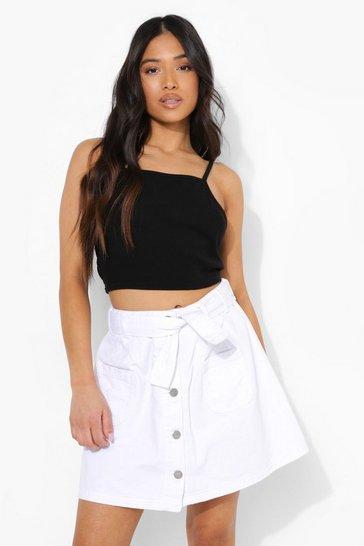 White Petite Belted Denim Skater Skirt