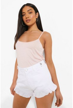 White Petite Denim Frill Hem Mom Shorts