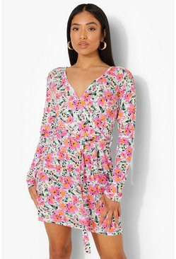 Multi Petite Long Sleeve Floral Wrap Dress