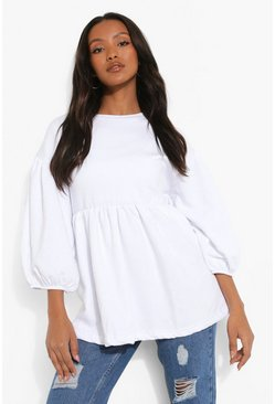 White Petite Puff Short Sleeve Smock Sweat Top