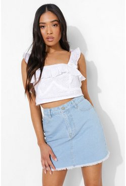 Light blue blue Petite Raw Hem Denim Mini Skirt
