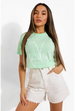 Mint green Petite Self Love T-shirt