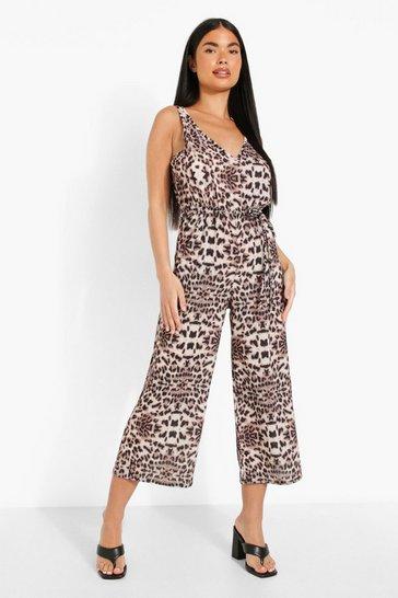 Natural beige Petite Leopard Print Belted Jumpsuit