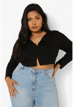 Black Plus Button Down Long Sleeve Crop Top