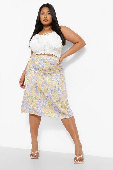 Yellow Plus Woven Floral Midi Skirt