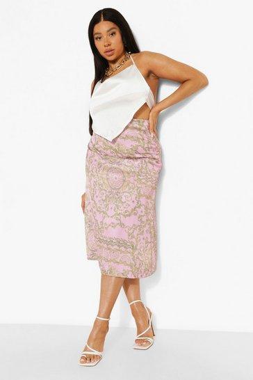 Pink Plus Woven Chain Print Midi Skirt