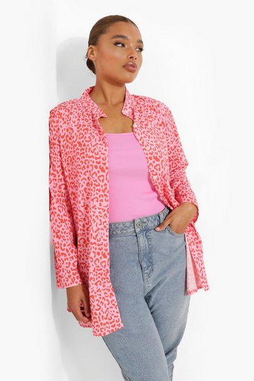 Pink Plus Leopard Oversized Shirt