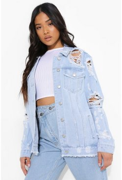 Bleach wash Petite Bleached Distressed Denim Jacket