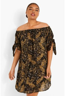 Brown Plus Palm Print Off Shoulder Shift Dress