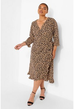 Brown Plus Woven Leopard Wrap Midi Dress