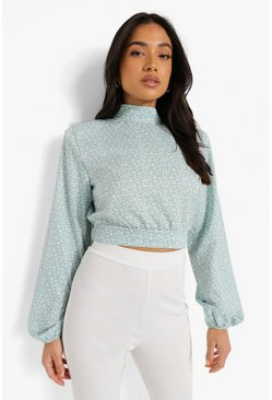 Mint Petite Ditsy High Neck Shoulder Pad Blouse
