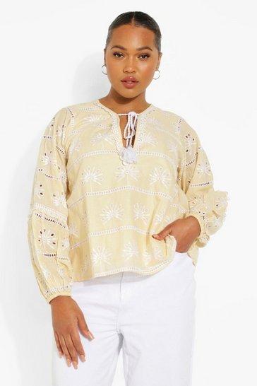 Stone beige Plus Embroidered Tassel Swing Top