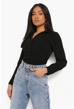 Black Petite Ruched Front Shirt