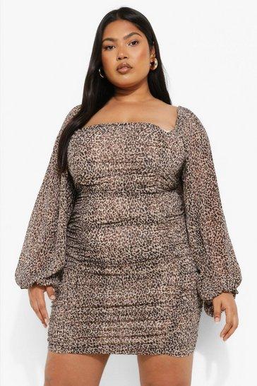 Plus Leopard Ruched Chiffon Mini Dress