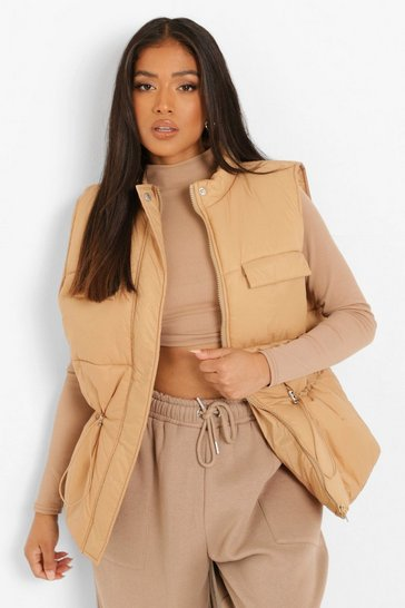 Camel beige Petite Synched Waist Gilet