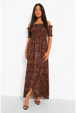 Natural Petite Leopard Shirred Wrap Front Maxi Dress