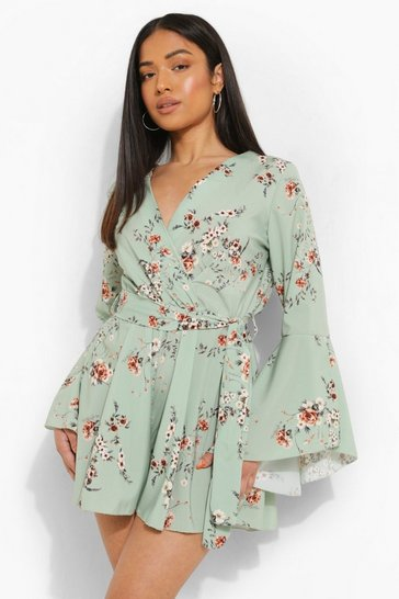 Mint green Petite Floral Flare Sleeve Tie Waist Playsuit