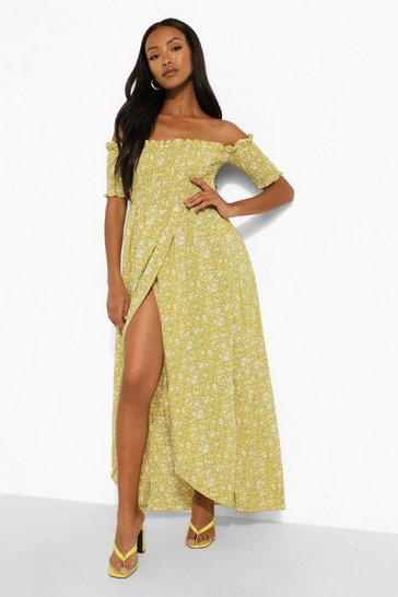 Yellow Petite Ditsy Shirred Wrap Front Maxi Dress