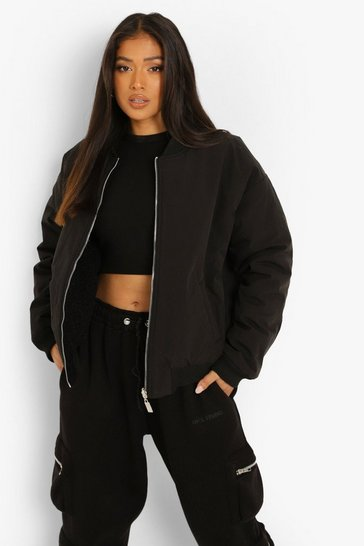 Black Petite Reversible Faux Fur Quilted Bomber
