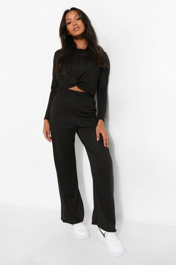 Black Petite Twist Front Crop and Trouser Set