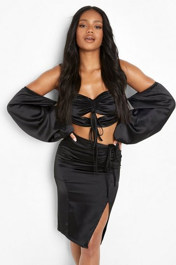 Black Petite Extreme Puff Sleeve Ruched Crop Top
