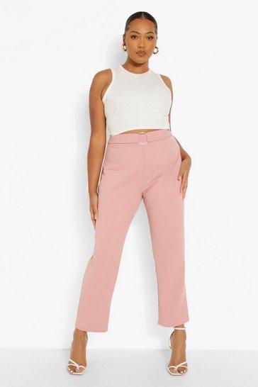 Blush pink Plus Tailored O Ring Tailored Trouser