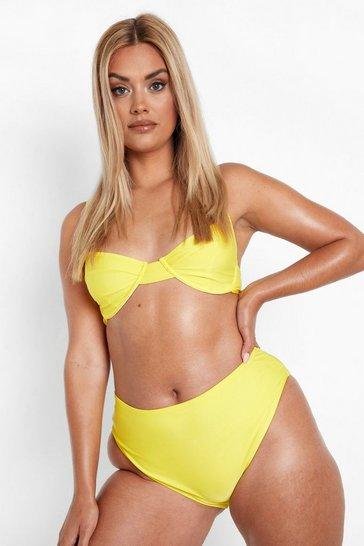 Yellow Plus Recycled High Waist Bikini Bottoms