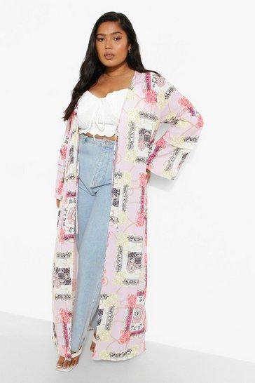 Pink Plus Butterfly Scarf Print Kimono