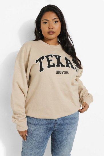 Sand beige Beige Plus Texas Slogan Oversized Sweatshirt