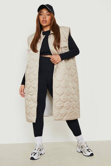 Stone beige Plus Diamond Quilted Padded Gilet