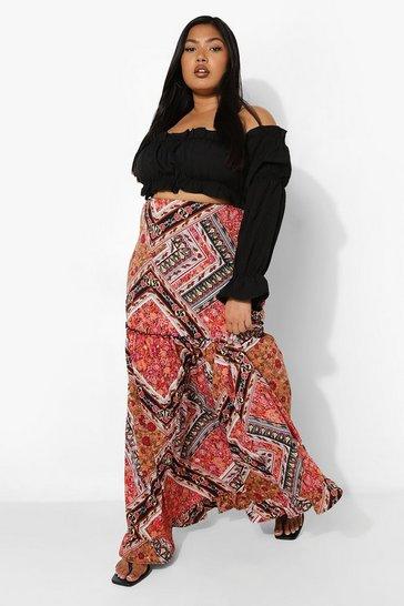 Multi Plus Paisley Maxi Skirt