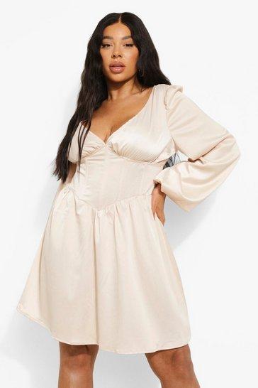 Cream white Plus Satin Corset Detail Skater Dress