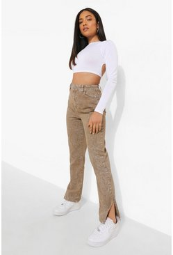 Brown Petite Acid Wash Split Hem Jean