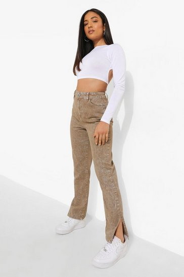 Brown Petite Acid Wash Split Hem Jeans
