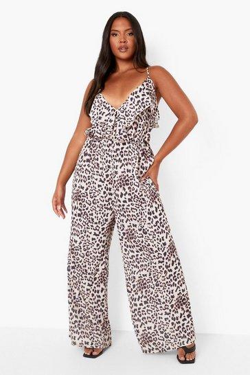 Brown Plus Leopard Ruffle Culotte Jumpsuit