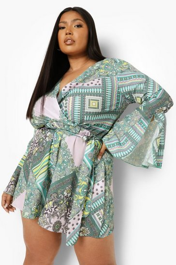 Green Plus Scarf Print Flare Sleeve Belted Playsuit