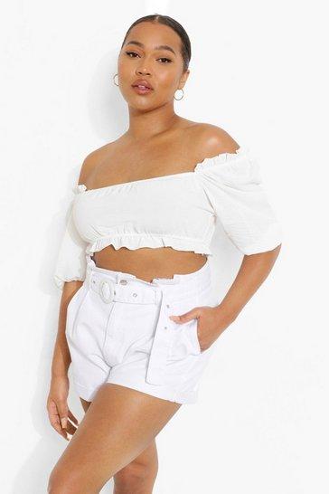 White Plus Belted Paperbag Denim Shorts